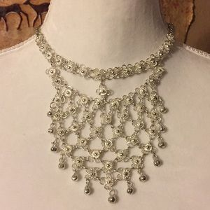 Vintage silver tone chain maille flower necklace